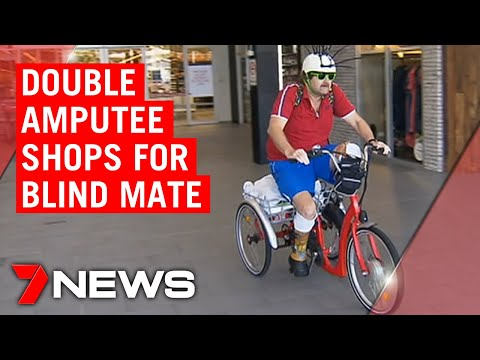 The selfless amputee who rides his bike to the shops for his blind mate | 7NEWS